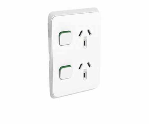 Iconic - Double Switched Socket Outlet Vertical 10A, 250V - Vivid White