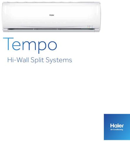 Haier Tempo 2.5kW Cooling, 2.9kW Heating Hi-Wall system R32