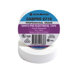 CABPRO 2710 PVC INSULATION TAPE - WHITE18MM X 20M