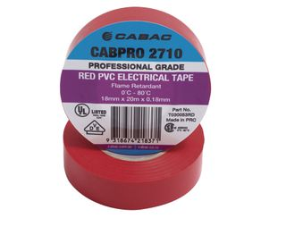 CABPRO 2710 PVC INSULATION TAPE - RED 18MM X 20M