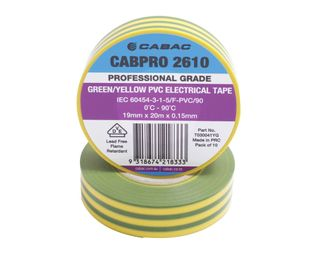 CABPRO 2710 PVC INSULATION TAPE - GREEN/YELLOW 18MM X 20M