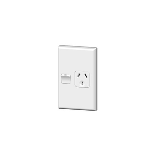 PDL 600 SERIES SINGLE VERTICAL SWITCHEDSOCKET OUTLET - 10A, WHITE