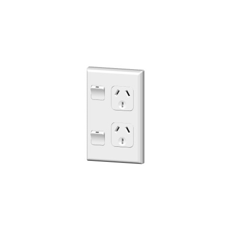 PDL DOUBLE VERTICAL SWITCHED SOCKET OUTLET  - 10A, WITE