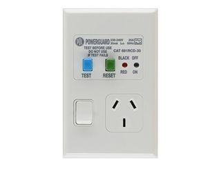 PDL RCD PROTECTED SINGLE VERTICAL SWITCHED SOCKET OUTLET - 10A, 30mA TRIP, WHITE
