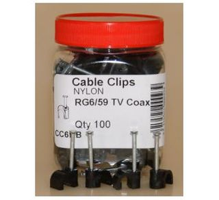 6mm Round Cable Clip  - 100jar