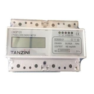 Three phase dinrail electronic Watt-hourmeter 3 x 100A