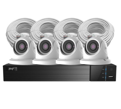 4 Channel NVR  4x 3.6mm 1080P dome 4MP cameras  4x CAT5/6 cable (2m lan cable) &