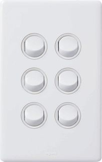 Excel Life™ Dedicated Plate - 6 Gang Switch, 16A