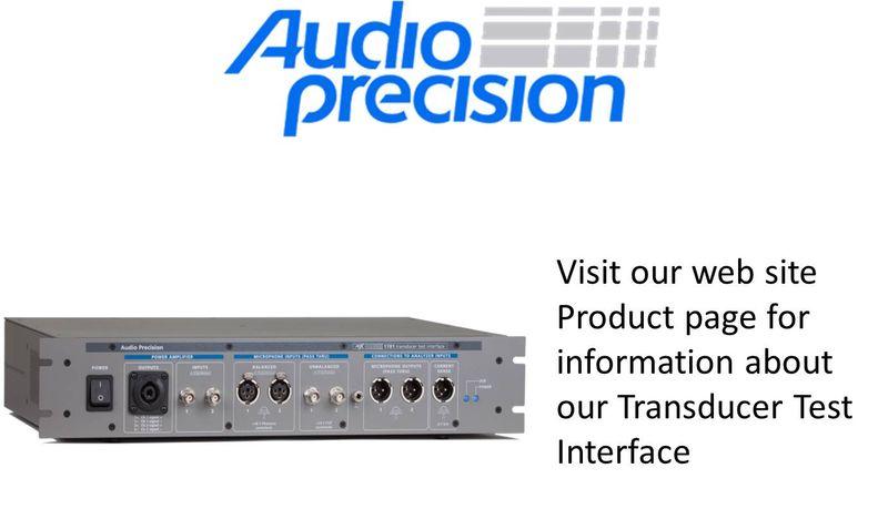 Audio PrecIsion Transducer Test Interface range