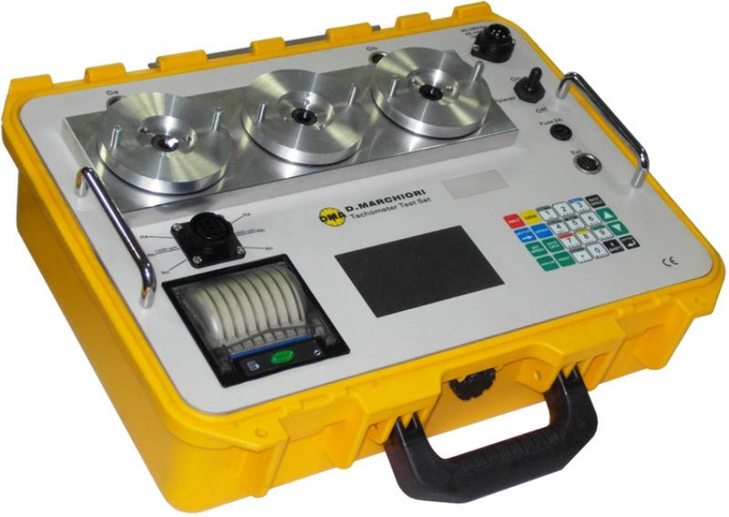 Digital Tachometer Tester equipped with three independent drive heads