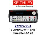 Keithley 2220G-30-1 benchtop linear power supply, 2 chan, 45w, 30v, 1.5A, low noise, prog., GPIB