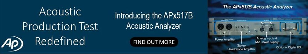 Acoustic Production Test Redefined: Introducing the APx517B Acoustic Analyzer. Find Out More >