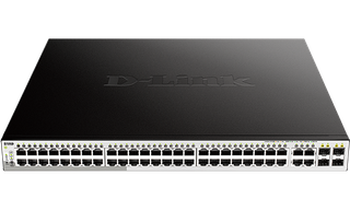 DLINK - 52-Port Gigabit WebSmart PoE Switch with 48 PoE RJ45 and 4 SFP Ports. PoE budget 370W.