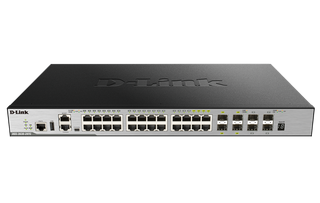 DLINK - 28-Port Gigabit xStack Layer 3+ Managed Stackable Switch with 24 1000Base-T (4 Combo SFP) and 4 10 GbE SFP+ Ports
