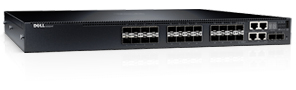 Dell Networking N3024F, L3, 24x1GbE SFP, 2xCombo, 2x 10GbE SFP+ fixed ports, Stacking, IO to PSU air, 1x AC PSU
