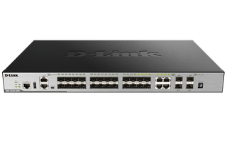 DLINK - 28-Port Gigabit xStack Layer 3+ Managed Stackable Switch with 24 SFP (4 Combo 1000Base-T) and 4 10 GbE SFP+ Ports (Advanced Layer 3 functionality requires Enhanced Image Licence)
