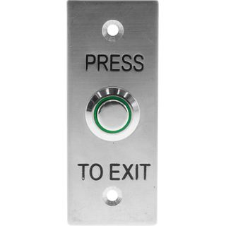 Stainless Steel Illuminated Exit Button  With Flush Mount Narrow  Plate