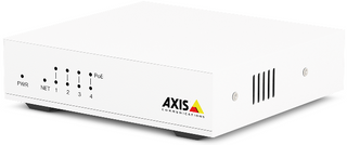 AXIS D8004 Unmanged PoE Switch is a 4 channel 10/100 Mbps PoE+ switch with plug & play installation