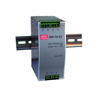 MEANWELL 24Vdc, 3.2A Single Output Industrial Din Rail Power Supply Unit (75W)