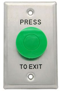 Push To Exit Exit Button, Mushroom Head, Large  Plate (Green)